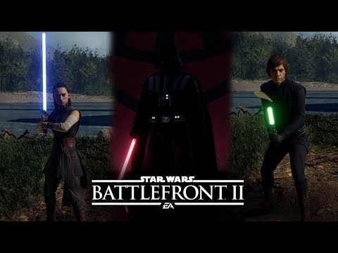 Star Wars Battlefront 2 - EVERY LIGHTSABER IGNITION & RETRACTION ALL HEROES (Lightsaber Control)