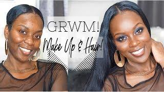 GRWM!| البشرة الداكنة إجراء روتيني!| Morphe يجرؤ على خلق| U-الجزء شعر مستعار| الشعر القصير التحول