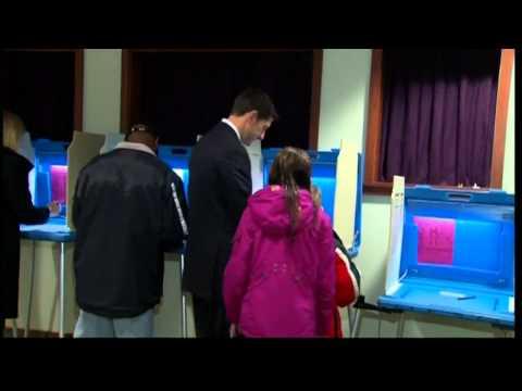US election 2012: Vice presidential hopeful Paul Ryan votes