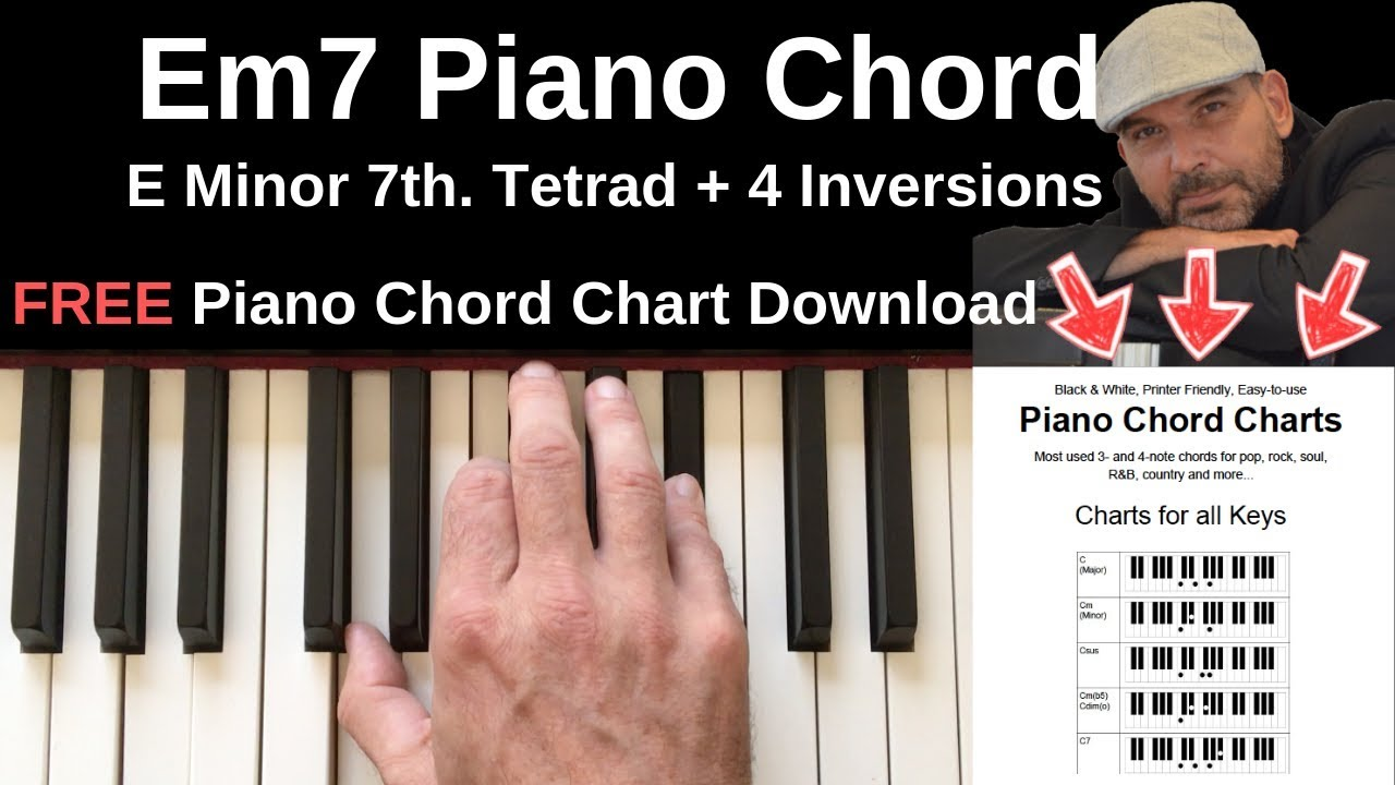 Em15 Piano Chord   E Minor 15th. + Inversions Tutorial + FREE Chord Chart