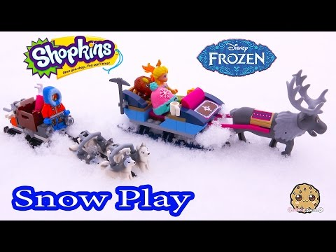 Sleigh Ride SNOW PLAY Video With Shopkins Season 4 + Disney Frozen Queen Elsa
