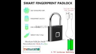 Kunci Gembok Sensor Fingerprint Sidik Jari Anti Air