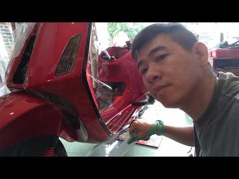 Cách dán keo xe vespa đỏ cherry p1 ( luân decal)