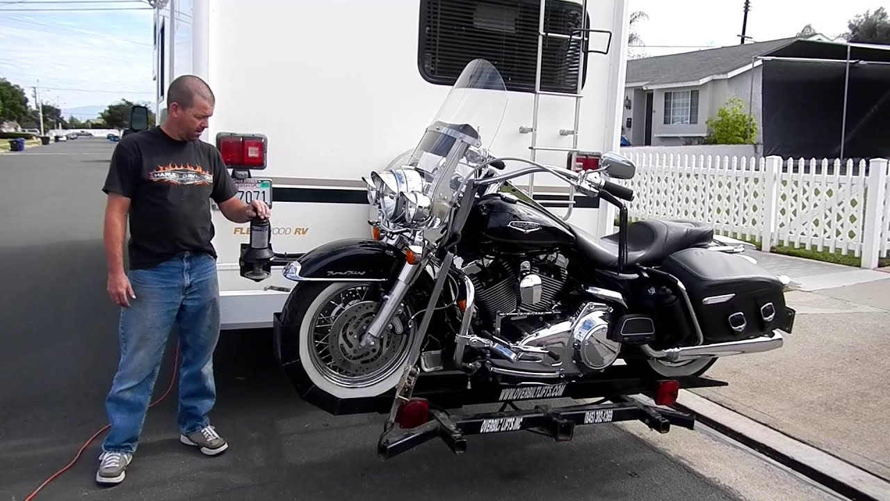 Motorcycle Carriers For Rv motorhome motorcycle lift - YouTube
