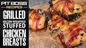 Bacon Wrapped Stuffed Chicken Breasts Grilled on the KC Combo  | Pit Boss Grills Recipes