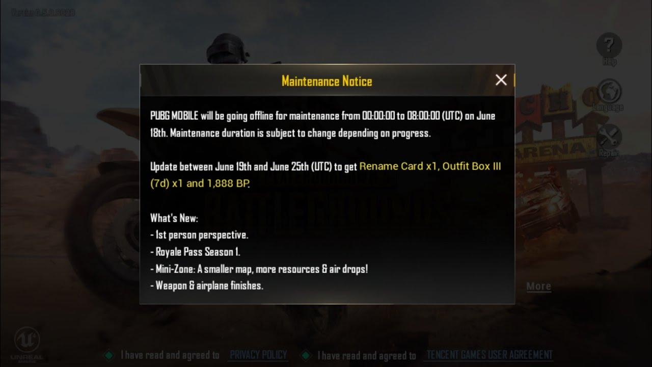 PUBG Mobile Maintenance Notice for 0.6.0 | PUBG Mobile New Update 2018 -  YouTube