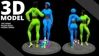 3D Character Sculptures and Turntable of: Palesa Blue and Paseka Green