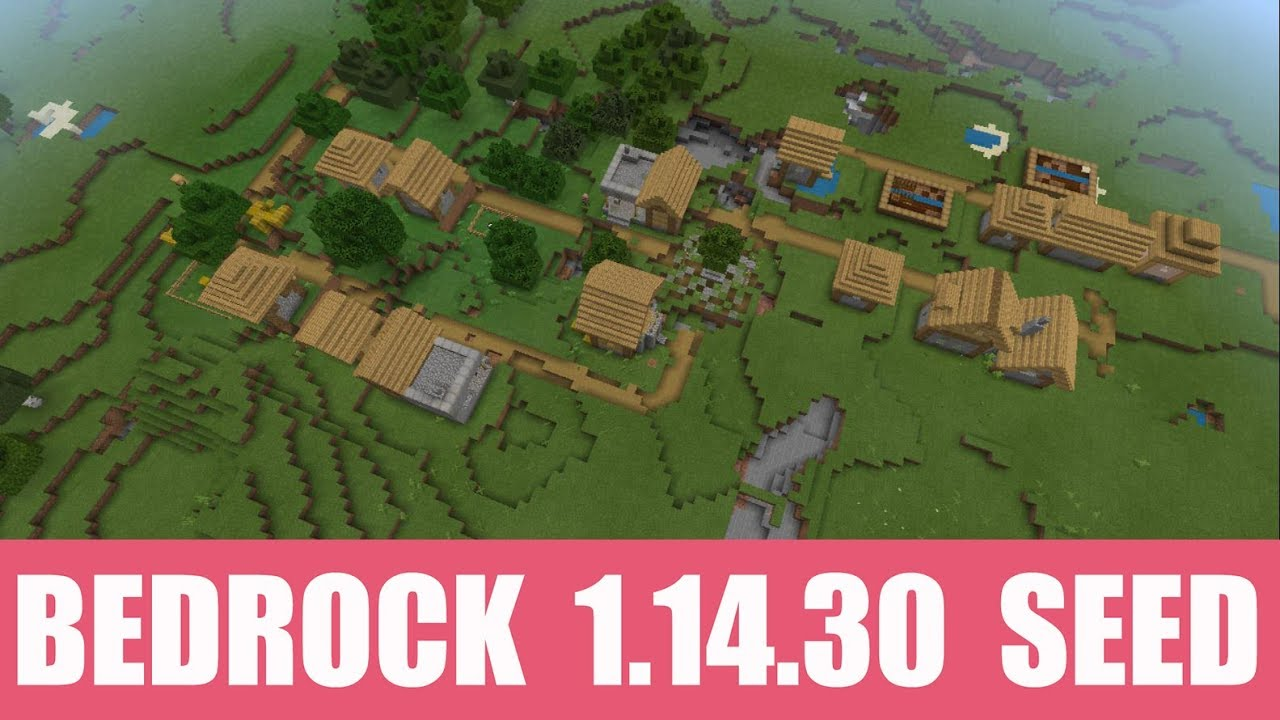 Minecraft Bedrock 12.124.12 Seed: Village with two blacksmiths and huge cave  system