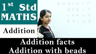 Mathematics For Class 1   Addition   Addition Facts - Addition with beads   Maths For Kids