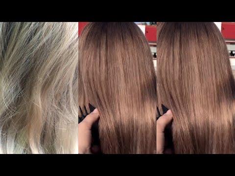Затемнение из блонда в русый