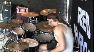Blood Red Throne - Games of Humiliation+Incarnadine Mangler live (drum cam)