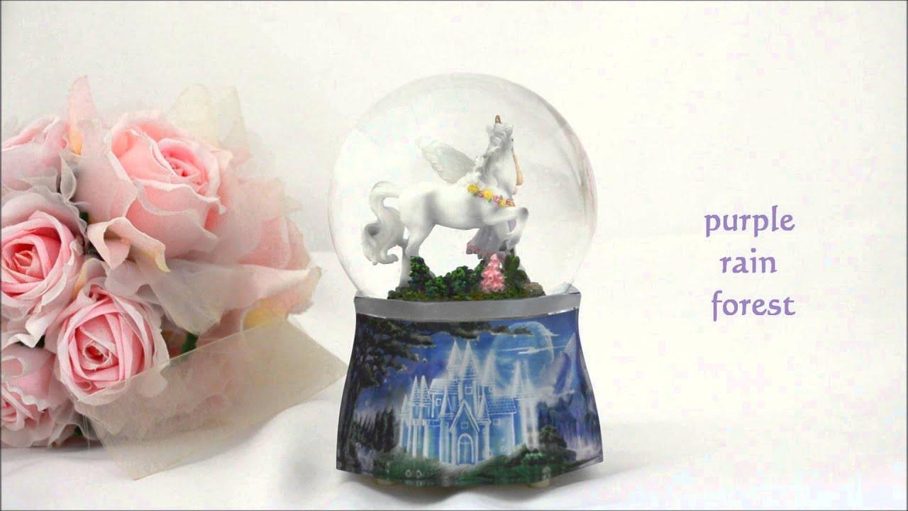 Purple Rain Forest Music Box Snow Globe Waterglobe