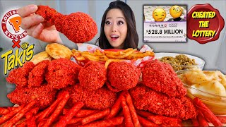 TAKIS FRIED CHICKEN + POPEYES FRIES & MASHED POTATOES MUKBANG | Eating Show