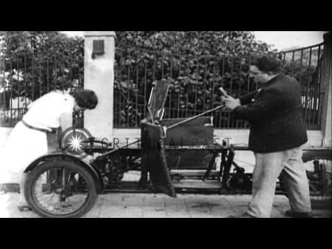 A Foldable Automobile Invented By A German Man In Berlin HD Stock Footage