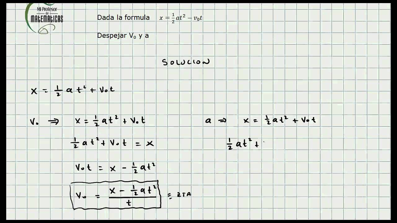 Ejercicio Despeje de Formulas - Algebra General - Mi Profesor de ...
