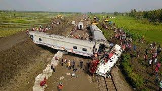 Download lagu Crane Penolong & Evakuasi Tabrakan kereta Sancaka VS Truk di Ngawi