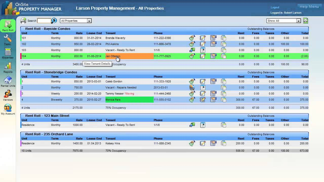 Onsitepropertymanager Com Rent Roll Overview Youtube