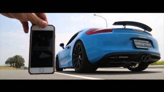 Baby Blue Porsche 981 Cayman roaring with Armytrix Cat-Back Valvetronic Exhaust