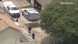 SKY2 flies scene of Easthampton Drive shooting in Aldine