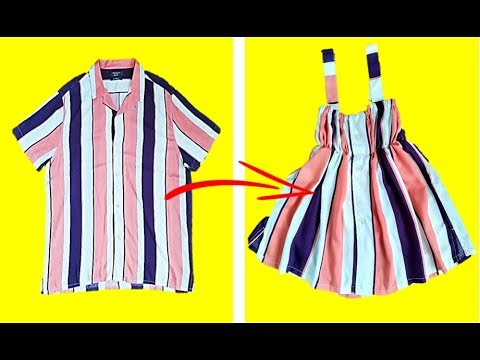 RECICLAR ROPA - VESTIDO DE NIÑA CON CAMISA VIEJA DE HOMBRE - DIY CLOTHES LIFE HACKS