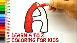 Learn A to Z Alphabets. Writing & Coloring for Kids