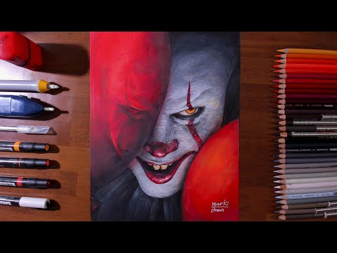Drawing Pennywise the Dancing Clown from movie[IT: CHAPTER TWO] - marki draws, colored pencil