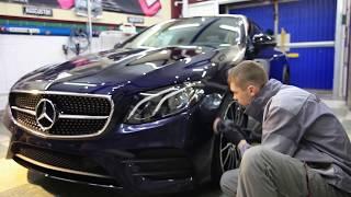Много полезного в новой серии. Mercedes Benz E class Coupe 2018. Керамика и антигравийная пленка.