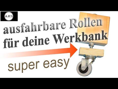 Ausfahrbare Rollen für Tischkreissäge, Werkbank und  Hobelbank in jeder Heimwerker Werkstatt.
