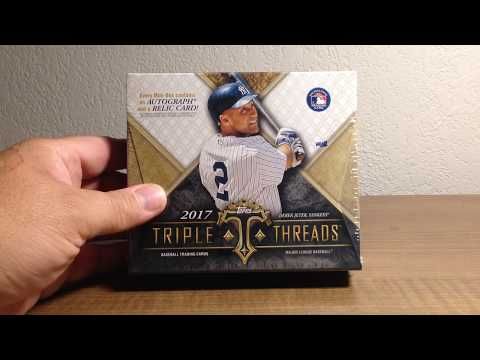 Opening a Hobby Box of 2017 Topps Triple Threads Baseball Cards with a Nice Relic Autograph!!