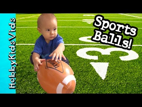 Inflatable FOOTBALL + SPORTS Balls! Basketball Soccer and Baseball Pool Play HobbyKidsTV