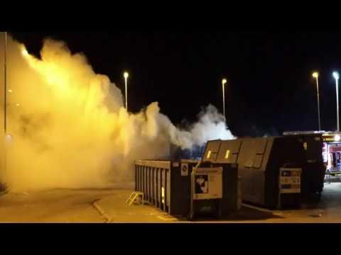 Brand i stor container på genbrugsstationen i Korsør