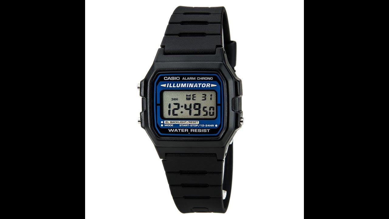 buy online 58e9e 2f631 Casio F105W-1A Men's Black Casual Classic Alarm Chrono Illuminator Digital  Watch Review Video
