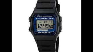Casio F105W-1A Men's Black Casual Classic Alarm Chrono Illuminator Digital Watch Review Video
