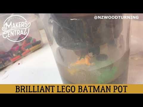 NZ WOODTURNING CREATES A DIY LEGO POT FULL OF SUPER HEROES