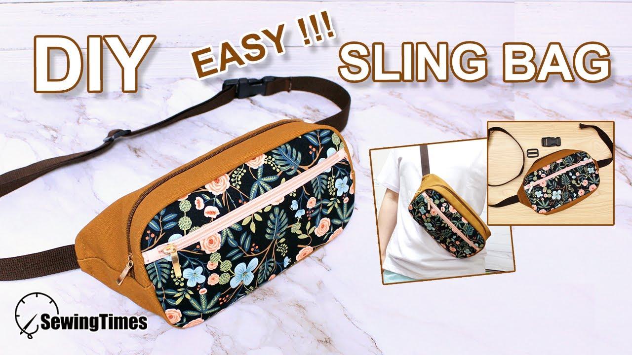 DIY EASY SLING BAG | 슬링백 가방 만들기 | fanny pack diy \u0026 pattern | 메신저백 como hacer [sewingtimes]