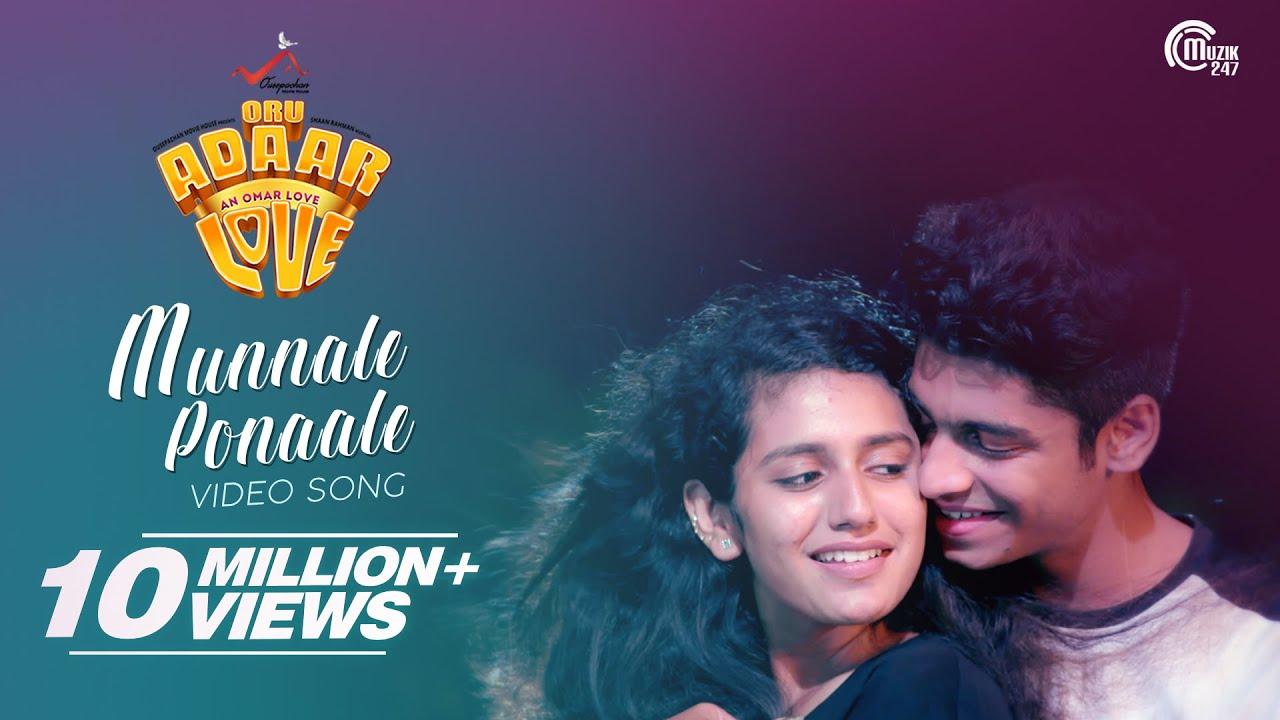 Download Oru Adaar Love   Munnaale Ponaale Full Video Song  Priya Varrier,Roshan  Shaan Rahman  Omar Lulu  HD