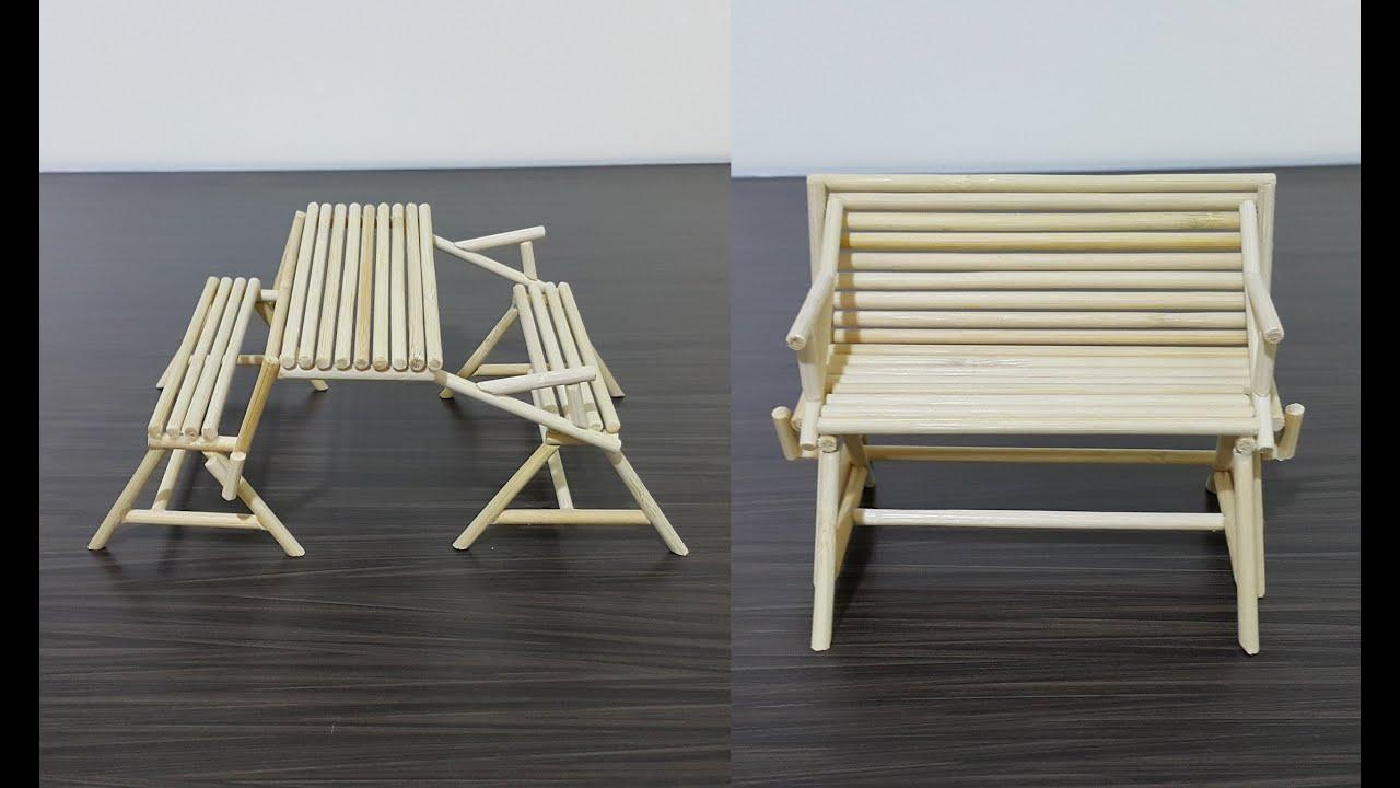 Diy Chopstick Folding Bench Table 竹筷变形休闲桌椅 Youtube