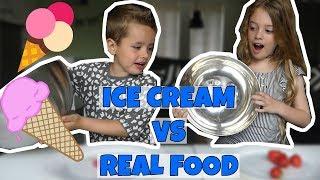 ICE CREAM VS REAL FOOD CHALLENGE!! - Broer en Zus TV VLOG #165