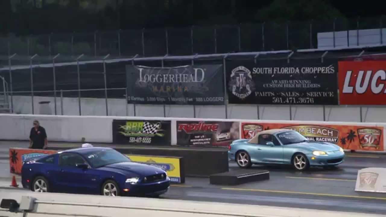 2013 Ford Mustang GT 5 0 vs NB Mazda Miata   1/4 mile - YouTube