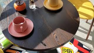 원형테이블 의자세트 타원형 조립식식탁 작은4인용식탁 커…