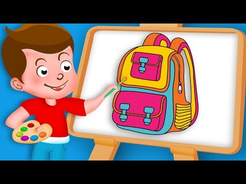 Drawing Schoolbag Paint And Colouring For Kids | Kids Drawing TV