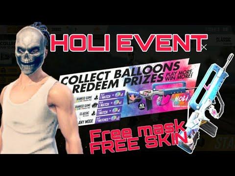 Free Skull Mask Free Gun Skin Holi Event Free Fire Battlegrounds 2019