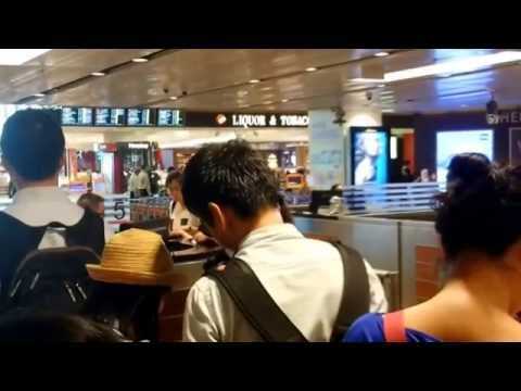 Singapore airport immigration, Going out.