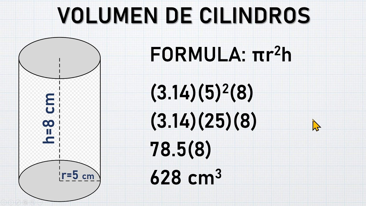 Cilindros Calculo De Volumen Radio Y Altura Youtube