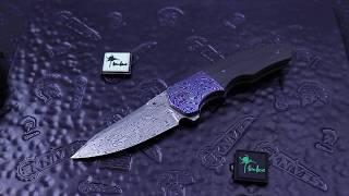 Kirby Lambert Crossroads Marble Carbon Fiber, Timascus Bolsters/Clip Damasteel Blade