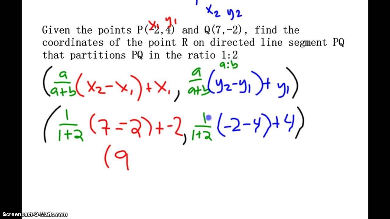 Partitionng a directed line segment - YouTube