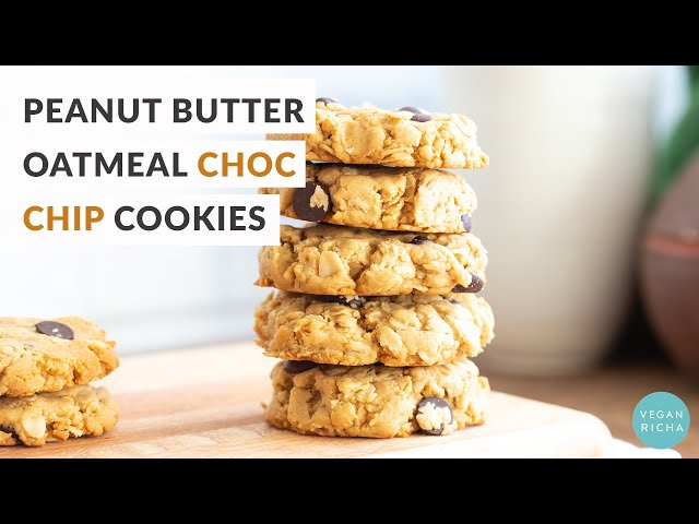 PEANUT BUTTER OATMEAL CHOCOLATE CHIP COOKIES - 1 Bowl 8 Ingredients | Vegan Richa Recipes