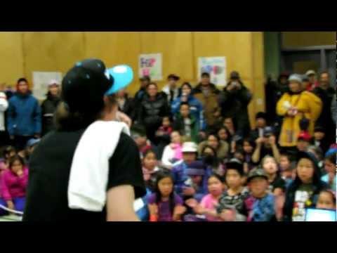 Nelson Tagoona performs in Kugaaruk Nunavut  - Blueprints final show after weeklong healing program.