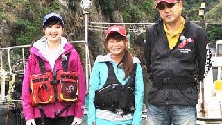 島根県は出雲の磯でのエギングに釣女ちゃことユニチカマスコットガール...