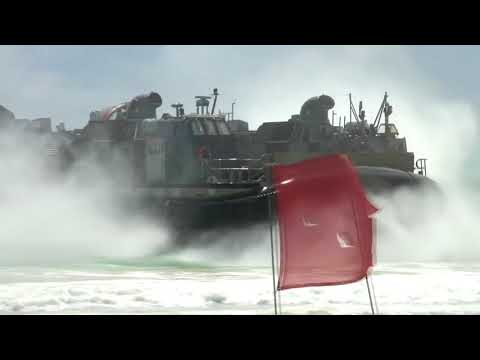 Gigantic US Navy Hovercraft Transport Ship in Action  Landing Craft Air Cushioned